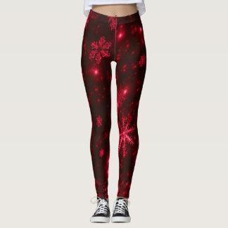 Legging Caneleiras vermelhos escuro & brilhantes dos