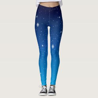 Legging Céu nocturno estrelado azul profundo