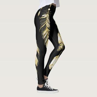 Legging Chique Luxe das penas & dos cristais do ouro do