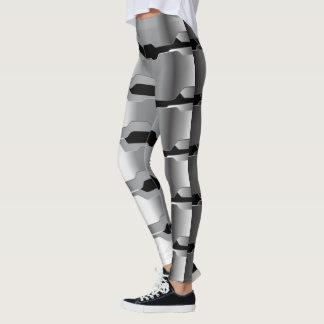 Legging Cinzas geométricas modernas & textura metálica