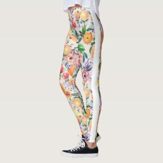 Legging Colagem floral das cores misturadas das aguarelas