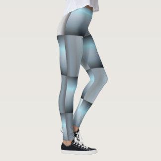 Legging Colagem quadrada metálica da prata & da cerceta