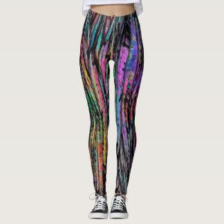 Legging Colorido, louco, Funky com arte abstracta vertical