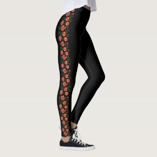 Legging com floral na lateral da perna