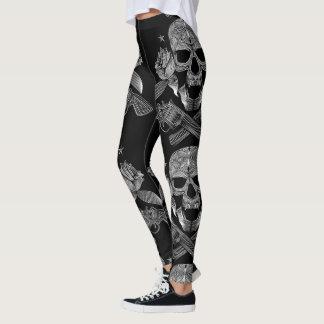 Legging Crânio e armas pretos & brancos