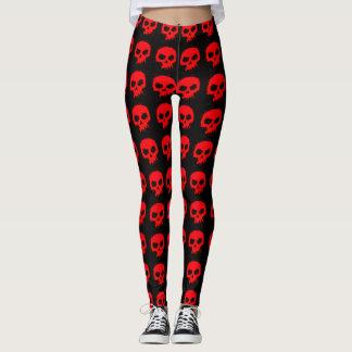 Legging Crânios vermelhos góticos em caneleiras pretas do