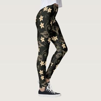 Legging Creme floral da videira & caneleiras pretas do