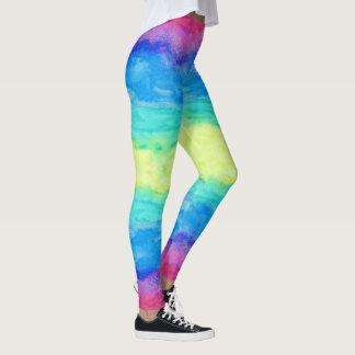 Legging Cursos abstratos coloridos da escova das aguarelas