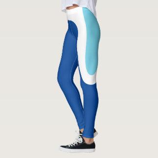 "Legging ""Curvas clássicas"" azuis/caneleiras brancas"