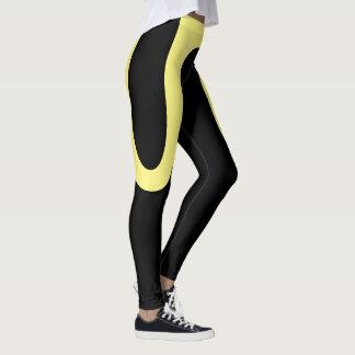 """Legging """"Curvas clássicas"""" pretas/caneleiras amarelas"""