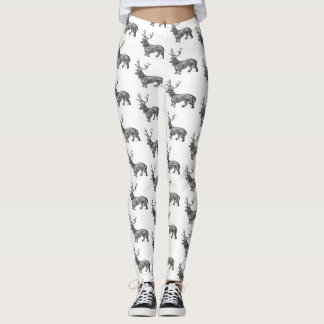 Legging Dachshund com as caneleiras preto e branco dos