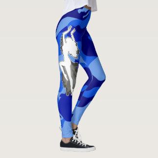 Legging Dançarino azul de Femme da camuflagem