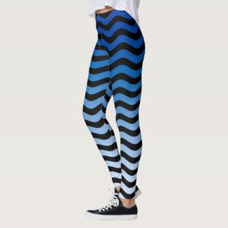 Legging Decoração ondulada das listras das matiz azuis