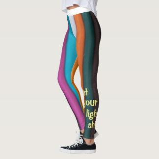 Legging Deixe suas caneleiras leves do arco-íris do brilho