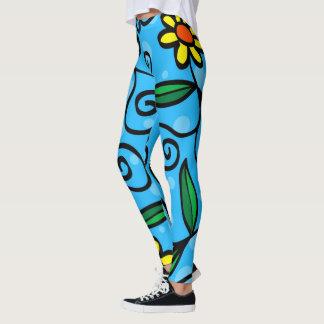 Legging Desenhos animados do desenho da flor que tiram o
