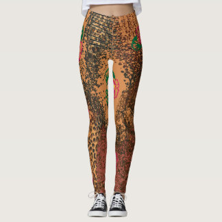 Legging Desi africano do leopardo do hibiscus das