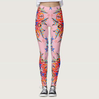 Legging Design abstrato do teste padrão (rosa pálido)