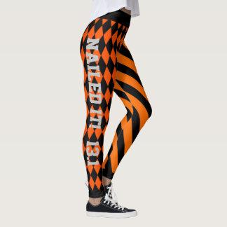Legging Design alaranjado e preto legal