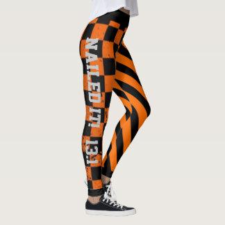 Legging Design alaranjado e preto legal do Grunge