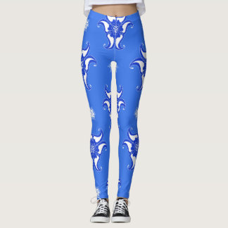 Legging design azul do teste padrão do abstrato do vintage
