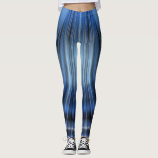 Legging Design Caneleira-Moderno preto & azul