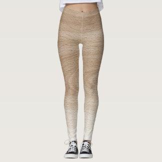 Legging Design de madeira de creme & branco