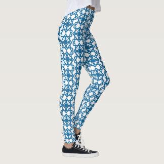 Legging Design do abstrato do vintage do azul de oceano
