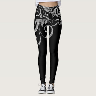 Legging Design feminino dos redemoinhos do brilho de prata