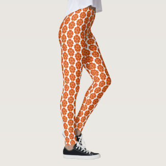 Legging Design redondo da flor do abstrato alaranjado do