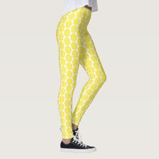 Legging Design redondo da flor do abstrato amarelo do