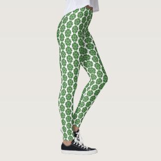 Legging Design redondo da flor do abstrato verde do