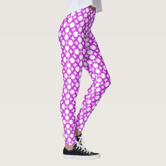 Legging Design roxo da flor do abstrato do vintage