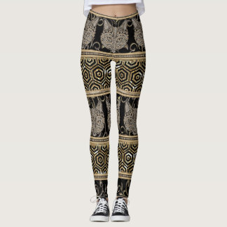 Legging Design tribal boémio egípcio do gato & do ouro