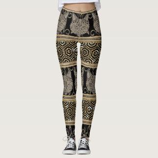 Legging Design tribal boémio egípcio do gato & do ouro