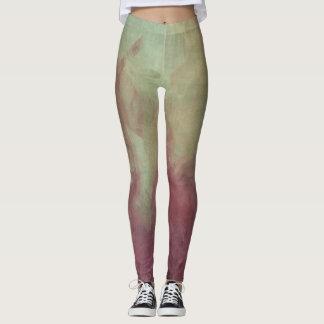 Legging Design verde de mármore roxo e da hortelã do