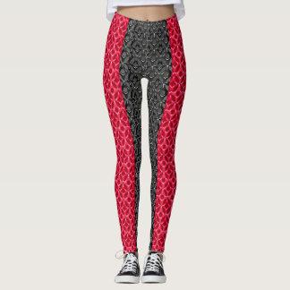 Legging Design vermelho e preto na moda do teste padrão
