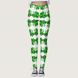 Legging Dia de St Patrick. Elemento do trevo