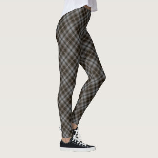 Legging Diagonal da xadrez de Tartan das cinzas & do Brown