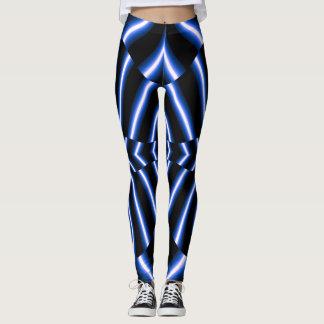 Legging Divertimento da forma Caneleira-Mulher-Azul/branco