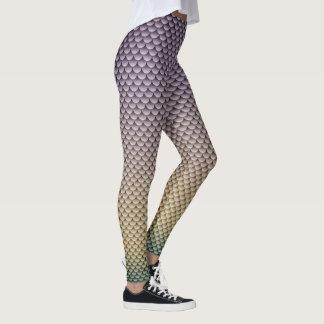 Legging ~ do estilo da sereia Prata-Cinzento, amarelo &