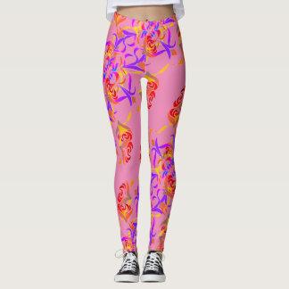 Legging Do teste padrão rosa floral multicolorido chique