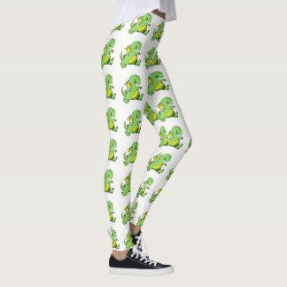 Legging Dragão verde dos desenhos animados que anda em