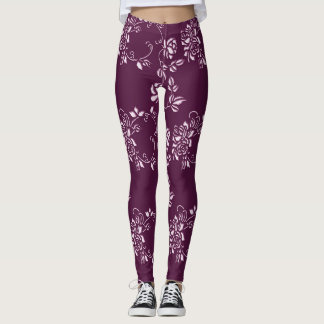 Legging Elemento retro roxo floral