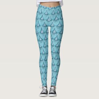 Legging Escalas azuis da sereia, boho, hippie, boémio