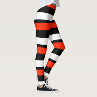 Legging Escarlate Horizontal-Listrado preto e branco