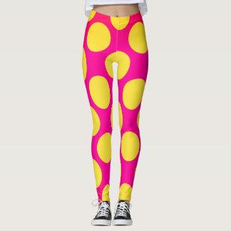 Legging Estilo cor-de-rosa e amarelo dos anos 70 das