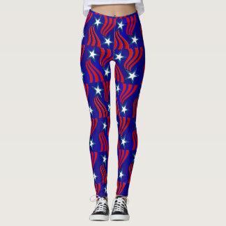 Legging Estrelas brancas, listras vermelhas e calças azuis