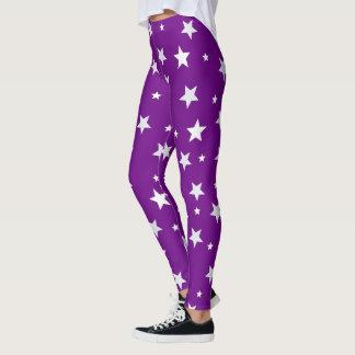 Legging Estrelas brancas no roxo