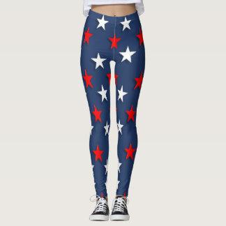 Legging Estrelas caneleiras patrióticas azuis brancas