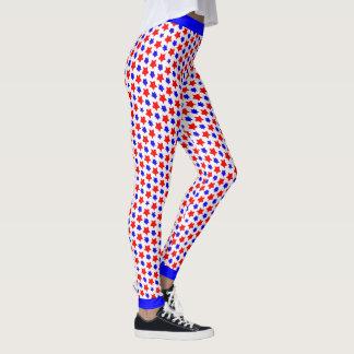 Legging Estrelas vermelhas e azuis distorcidas poucos